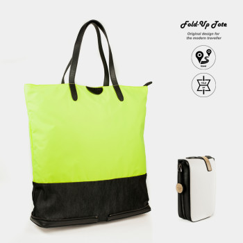 Charlie Baker_London_17 Fold Up Tote Bag_Neon+White leather