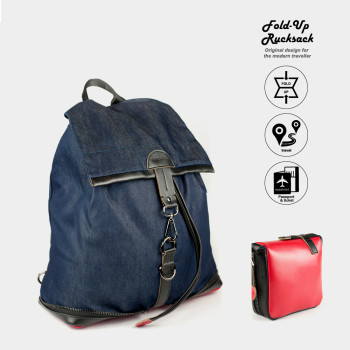 New York_01 Red Leather Blue Demin Fold Up Rucksack